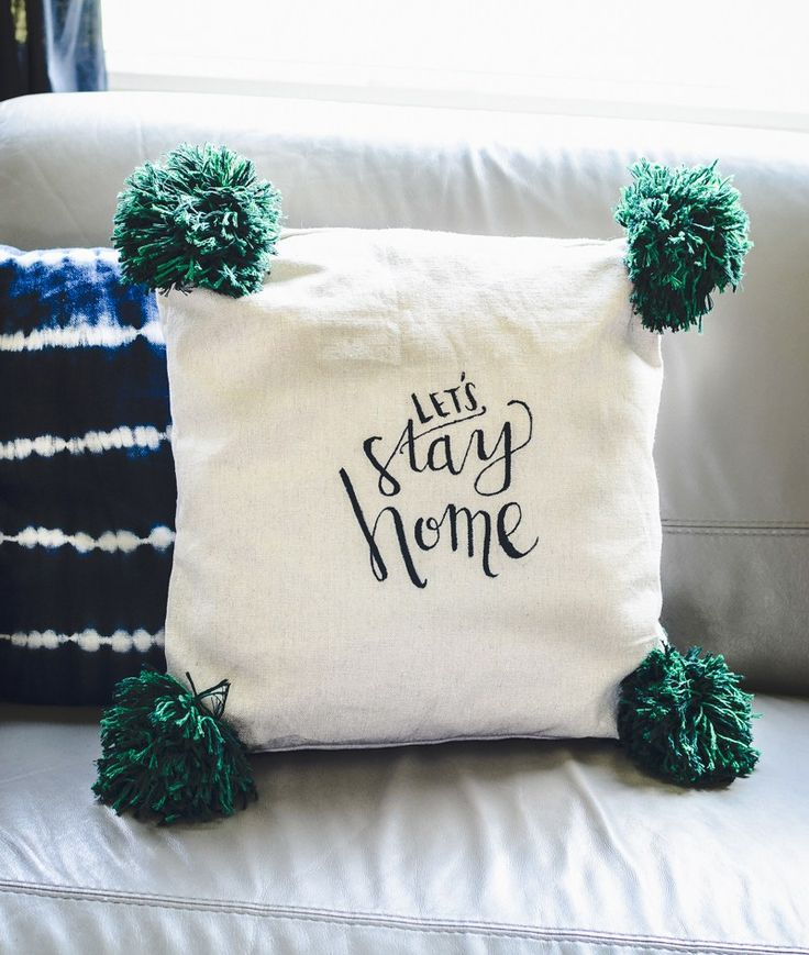 DIY Hand Lettered Pillow With Giant Pom Poms & Best 25+ Letter pillow ideas on Pinterest | Letter cushion ... pillowsntoast.com