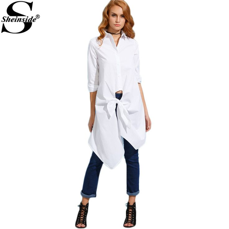 Sheinside White Knotted Front Long Shirt Women Plain Clothing Autumn 2016 Lapel Long Sleeve Buttons Design Blouse