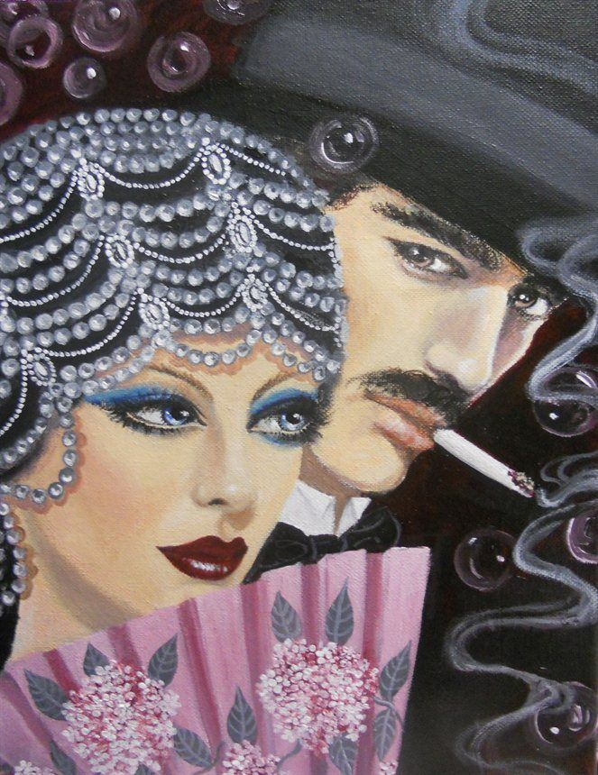 art deco couple. Original acrylic painting on canvas, 11'x14'.....A beautiful woman and a handsome man make an interesting and dramatic couple.