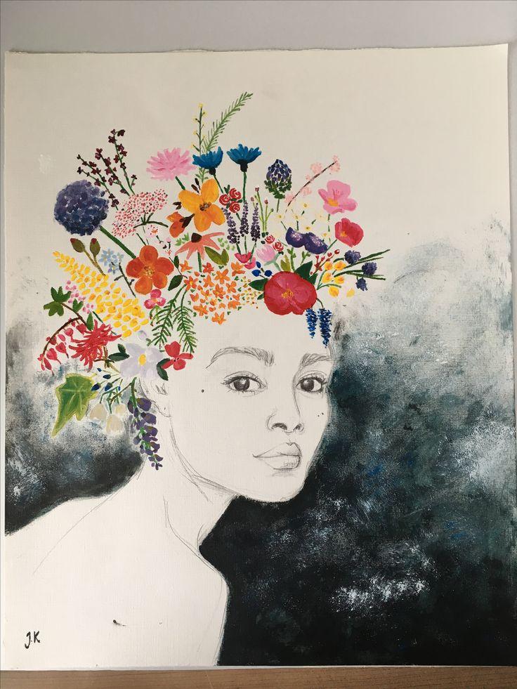 Flower lady painting portrait