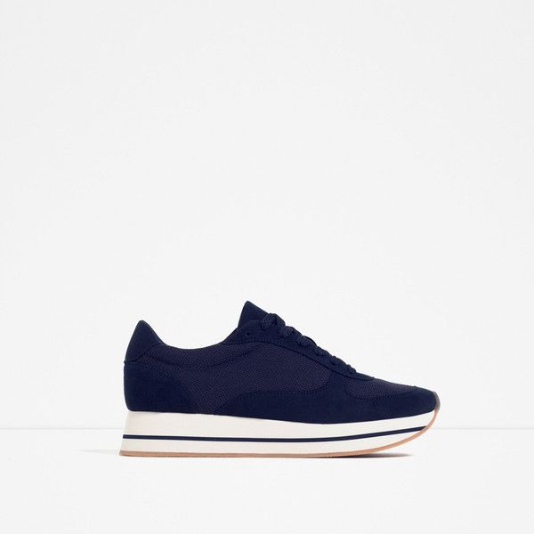 Zara Mesh Sneakers (£43) ❤ liked on Polyvore featuring shoes, sneakers and navy blue
