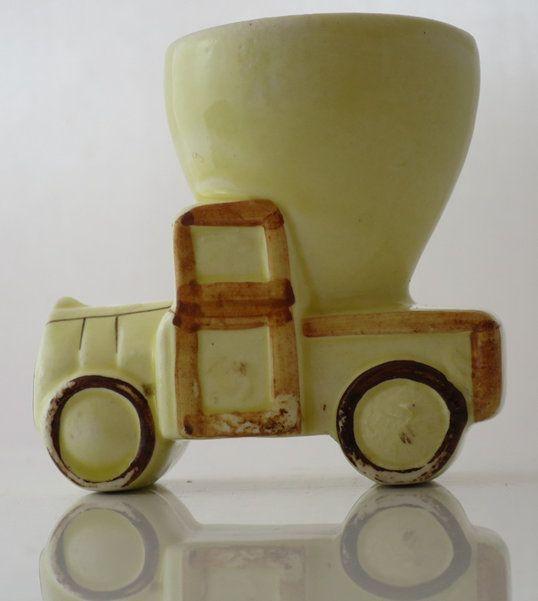 VINTAGE TREASURE - Little yellow truck egg cups www.vintagetreasure.co.nz