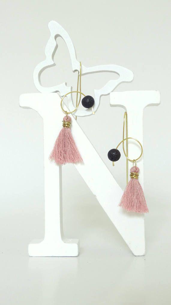 Pink Earrings Gold Earrings Brass Earrings Lava Earrings