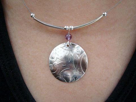 """Iphigenia - ezüstözött nyakék ametiszttel 25 mm, 45 cm / Silver plated necklace with amethyst disc 1"""", string 18,5"""""""