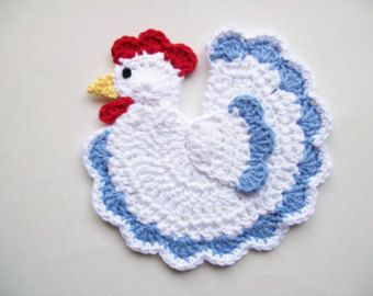 Crochet Potholders  No Pattern for this Chicken                                                                                                                                                                                 More