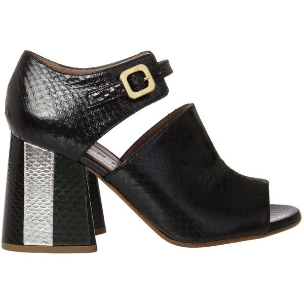Marni Chunky Heel Sandals (2.110 BRL) ❤ liked on Polyvore featuring shoes, sandals, ziblack cypress silver, chunky heel shoes, black chunky heel shoes, black peep toe shoes, silver peep toe shoes and wide heel sandals