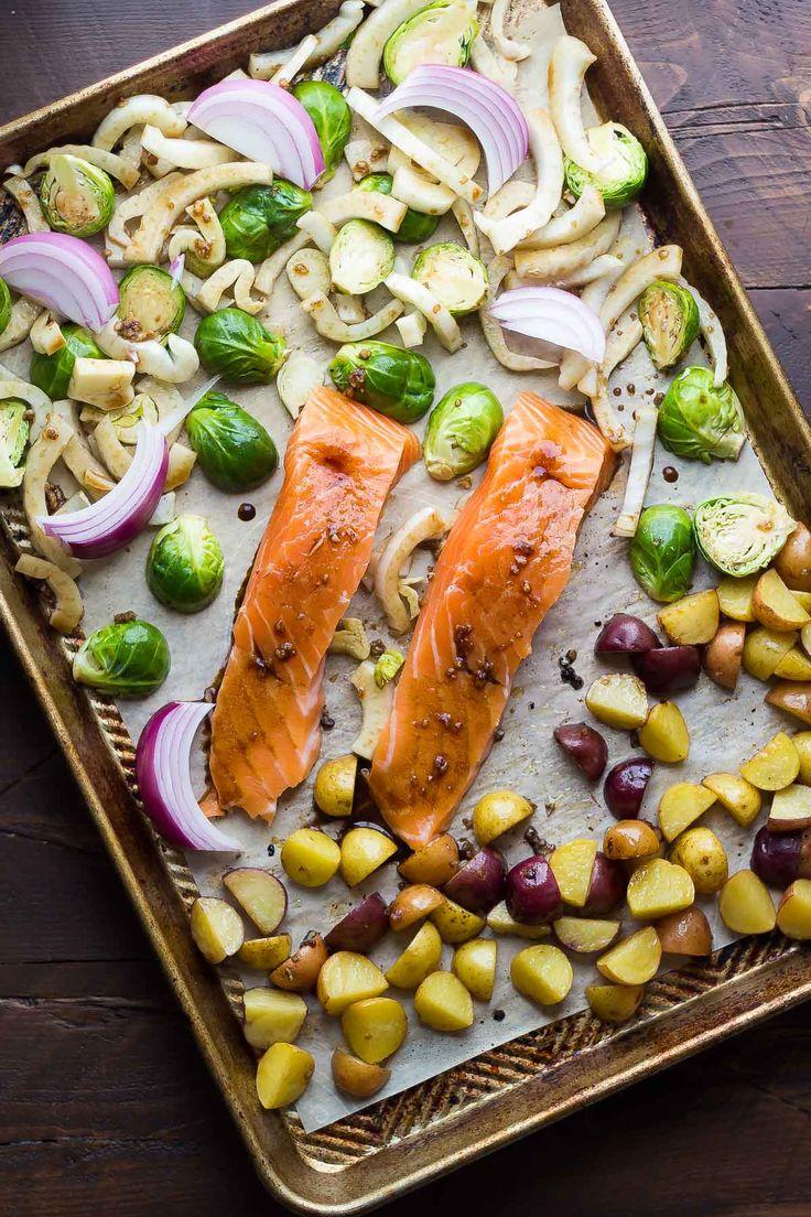 Mediterranean Salmon Sheet Pan Dinner, an easy dinner recipe ready in 30 minutes!