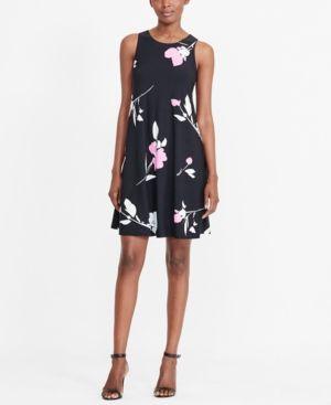 Lauren Ralph Lauren Floral-Print Trapeze Dress - Black / Pink Floral Multi 14