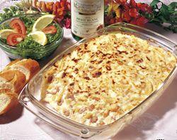 Macaronigratin met pladijs en garnalen