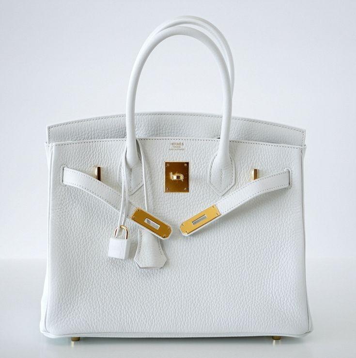 HERMES BIRKIN 30 bag WHITE coveted beauty clemence Gold hardware ...