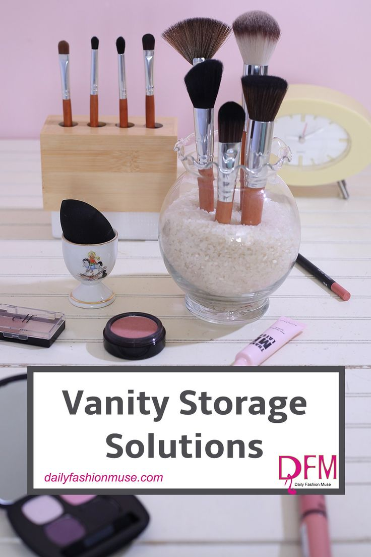 I LOVE to organize and create storage solutions. Like literally LOVE it!! Click to see some of the items I use for vanity storage. I bet you already own it. -Daily Fashion Muse