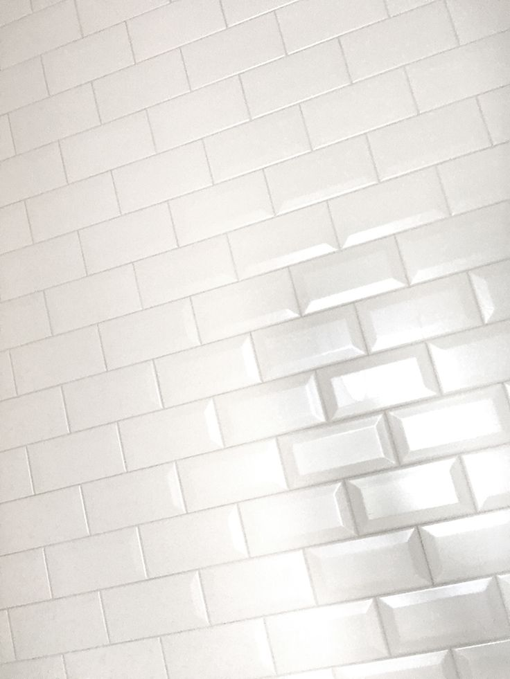 White Beveled Subway Tile Offset Installation Brick