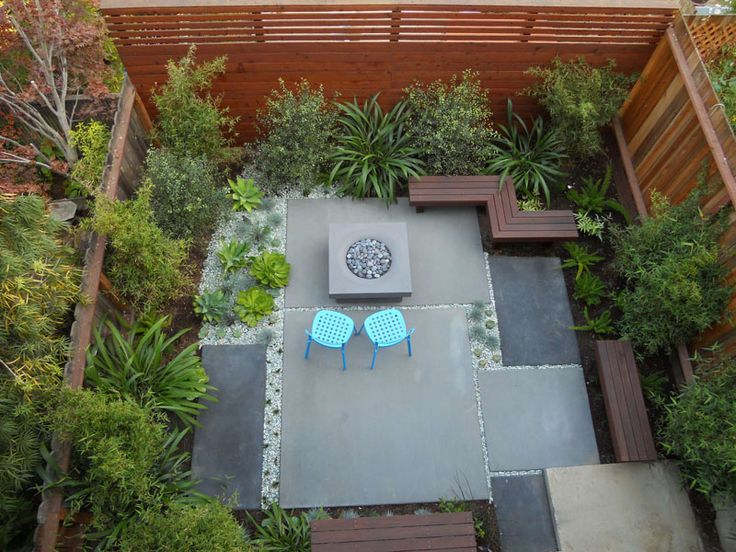 16 Inspirational Backyard Landscape Designs As Seen From Above // Here's a contemporary patio with a mix of low maintenance plants and seating around a fire pit.