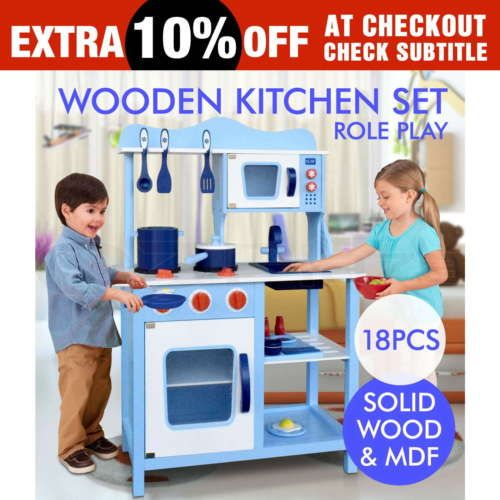 $130  Kids-Wooden-Kitchen-Pretend-Play-Set-Toy-Children-Cooking-Home-Cookware
