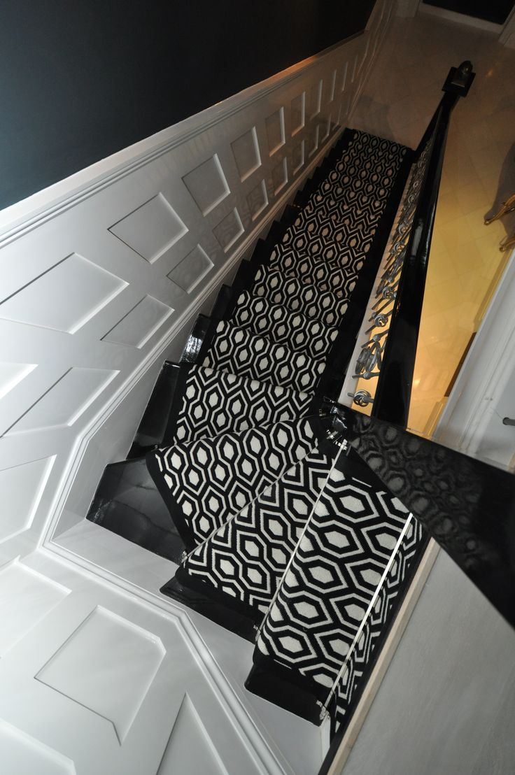 Navy greek key rug transitional entrance foyer libby langdon - Hartley Tissier Hex Black White Seen Here On A Winding Staircase This Particular
