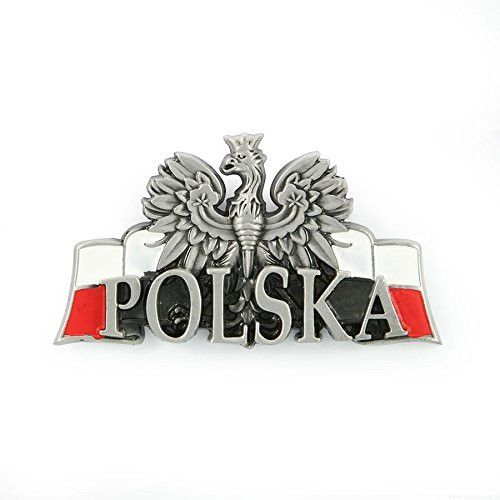 "Metal magnet with the Polish White Eagle and POLSKA lettering and white and red. Magnet designed to be placed on a refrigerator or other stationary metal surface. Measures approx. 3"" x 1.5"". Made in P"