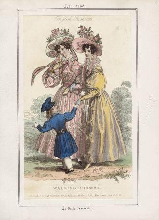 Promenadenkleid und ein Jungenanzug, La Belle Assemblée Juli 1830