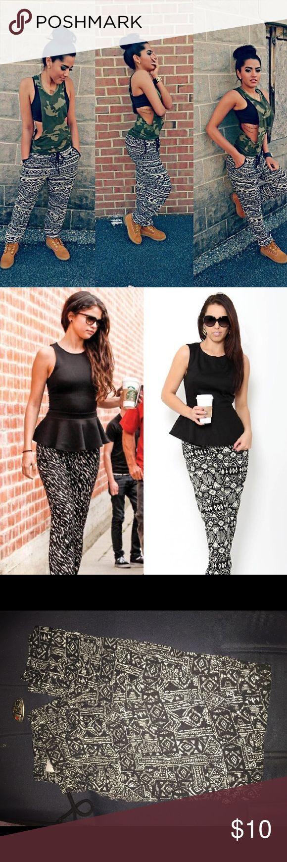 Black and White printed tribal pants (ONE DAY SALE ✖️Cute/Trendy ✖️ Size: Medium ✖️ Like New ✖️Can dress up or down Fashion Nova Pants