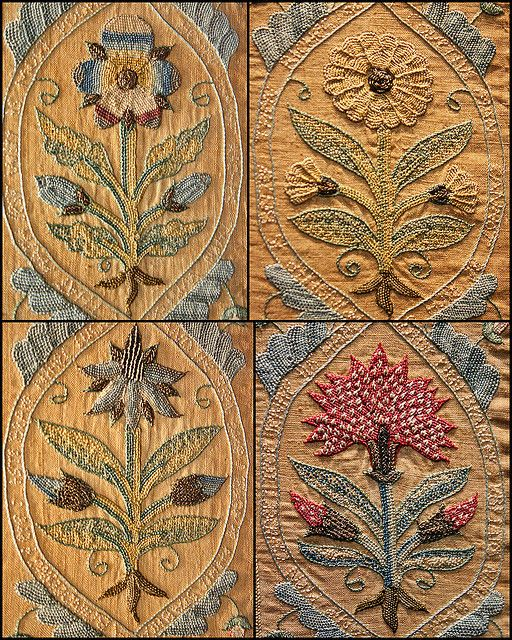 17C Embroidery - flower motif Victoria and ALbert Museum by Kotomicreations, via Flickr