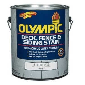 "Olympic-ppg Architectural 53202A/01 Solid Color Deck/fence/siding Latex Stain - Gallon (Pack of 4). ""OLYMPIC"" SOLID COLOR DECK/ FENCE/SIDING LATEX STAIN   * Gallon  * Base 2  * Latex formula  * Protects for 5 years on decks, 15 years on fences and siding  * Waterguard and sun block UV protection  * Scuffguard and mildew resistant coating  * Replaces Ace no. 1017169  * Can"
