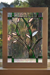 Modern flower stained glass in RVS frame. By RannDago.