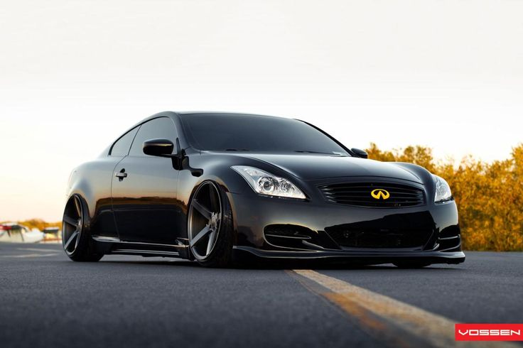 Blacked out Infiniti G37 on Vossen wheels.