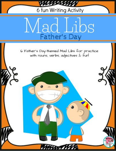 Great editable classroom materials @teachersherpa Father's Day themed Mad Libs Writing Activity. Everyone loves Mad Libs writing activities! As Father's Day approaches, check out this fun, writing activity in mad lib form to get your students working with nouns, verbs, adjectives and more during a writing lesson. This fun writing activity is also great to print out and use if you're creating a pack for your students over the summer. Keep them engaged in writing activities, while...