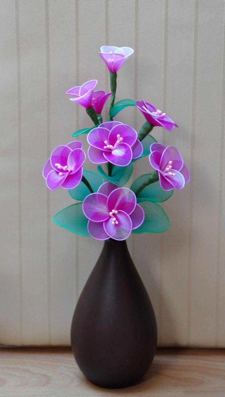 Purple flowers, cherry flowers bouquet, handmade nylon flowers, cherry flowers…