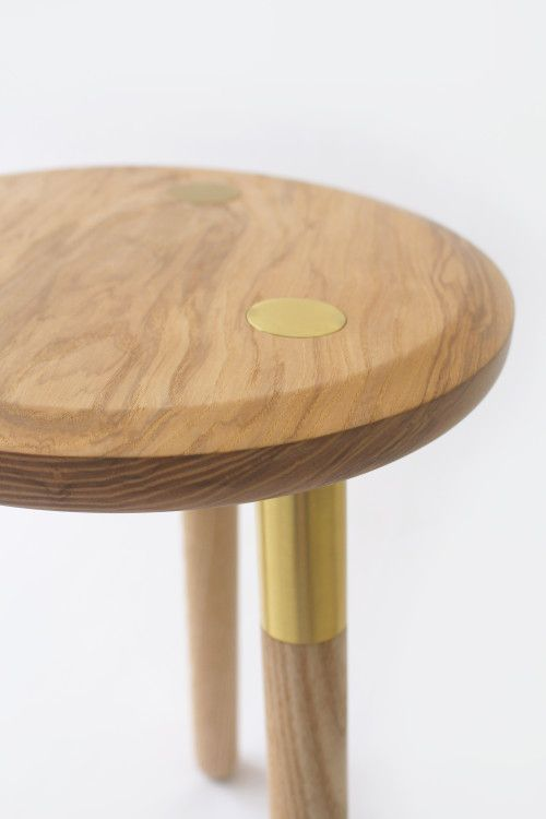 Tool Stool is a minimalist design created by England-based designer Daniel Schofield. The Tool Stool gets its inspiration from the way knife and tool blades are traditionally fixed to the handle using a brass rivet. This visual language serves as the inspiration behind the solid Ash stool with Brass detailing on the legs and surface of the seat. The Tool Stool can also be used as a side table. Available in low stool or barstool heights. (3)