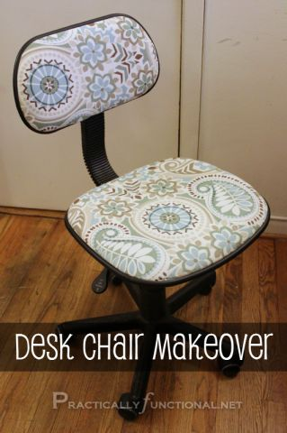 DIY Desk Chair Makeover - I'll have to keep this in mind if I ever find a fabric I like