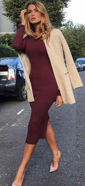 Women's fashion   Burgundy flattering dress with cream coat