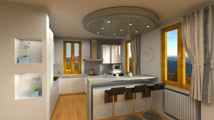 Rendering 3D fotorealistico cucina moderna su misura con isola. #rendering #arredamento #cucina   Progettazione & Rendering fotorealistici