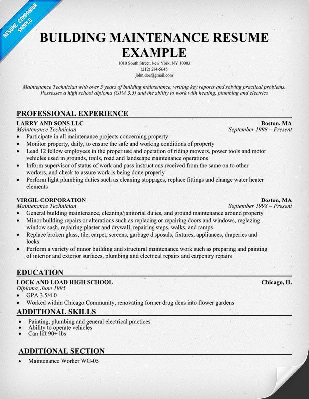 Building Maintenance Resume Sample resumecompanioncom