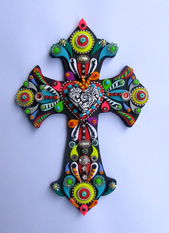 Day of the Dead Sacred Heart Love Mexican Wall Cross Turquoise, Yellow Colorful OOAK Cross