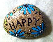 Happy Rock - Happy with Blue daisies - Hand-Painted River Rock