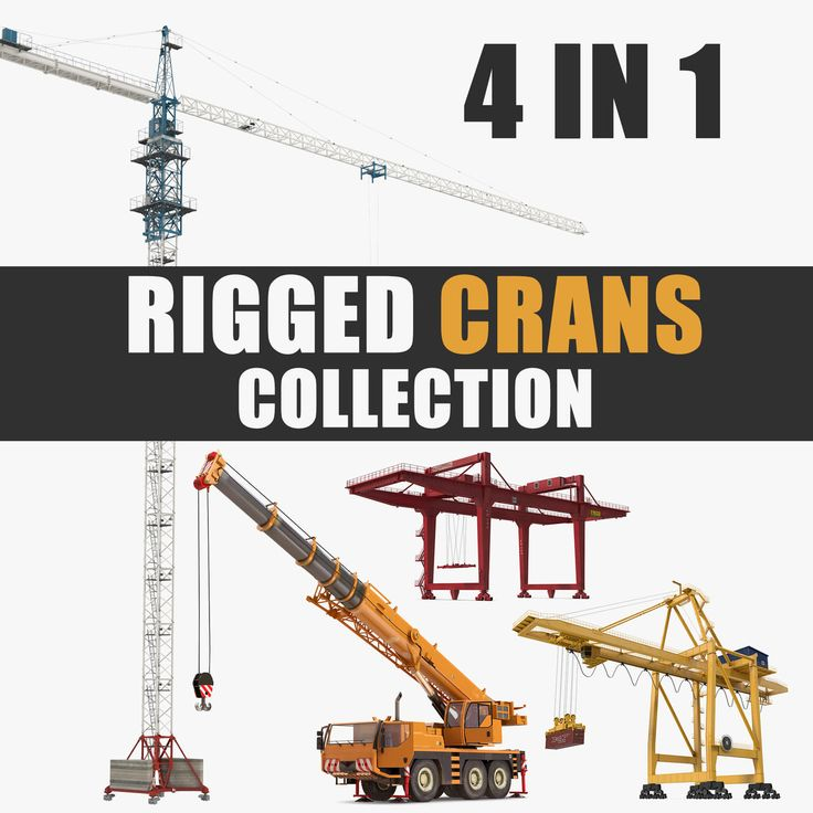 Rigged Cranes Collection 3D