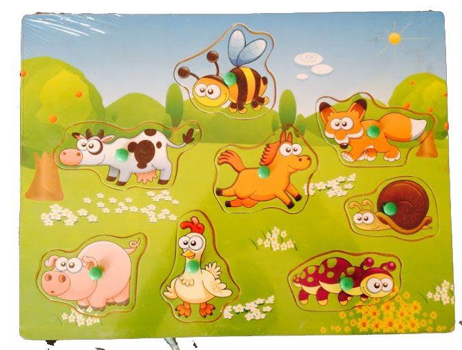 Puzzle din lemn cu maner Animale Domestice