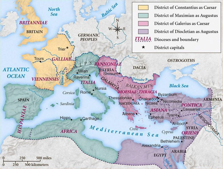 Map of the Roman Empire under the Tetrarchy, showing the dioceses and the four Tetrarchs' zones of influence.