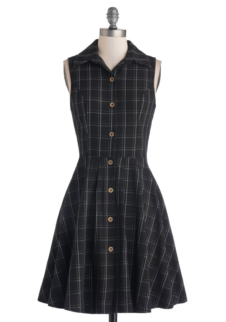 Swing Vote Dress in Black. When your sweetheart suggests an evening of swing dancing, you give a vote of stylish support by slipping into your favorite twirl-friendly garment - this plaid shirtdress from Fleet Collection! #black #modcloth