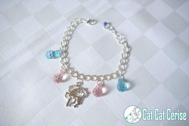 Pulsera Unicornio con gotas en color rosa y azul. #unicorn #unicornio #pulsera #jewelry #bracelet