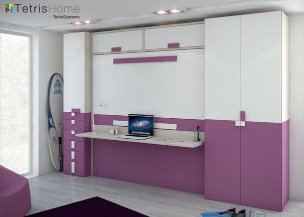 Cama abatible dormitorio con litera abatible for Canape abatible ikea