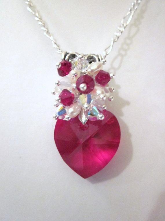 Valentines Day   Dark Red Swarovski Crystal Heart Cluster Pendant Necklace