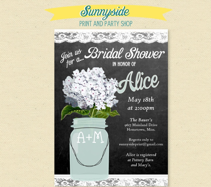 bridal shower invitations with recipe card attached%0A Chalkboard Floral Mason Jar  Bridal Shower Invitation     flower choices