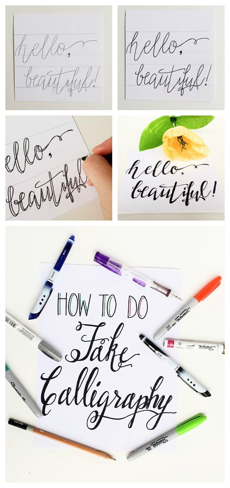Not ready to do dip pen calligraphy or want a new method of hand-lettering? Fake calligraphy is easy and you probably already have everything you need!