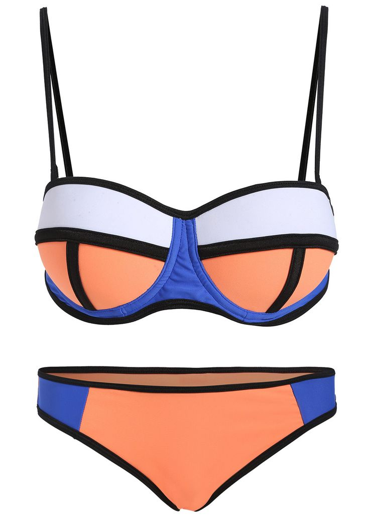 Colour-block Spaghetti Strap Bikini Set 19.50
