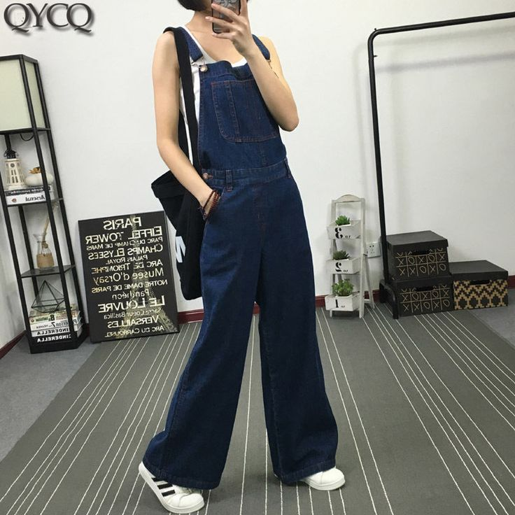 Fashion Loose Suspender Pants Bell-Bottoms Women's Denim Overalls Trouse