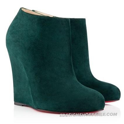 Christian Louboutin Belle Zeppa Suede 100mm Wedges Ankle Boots English Green