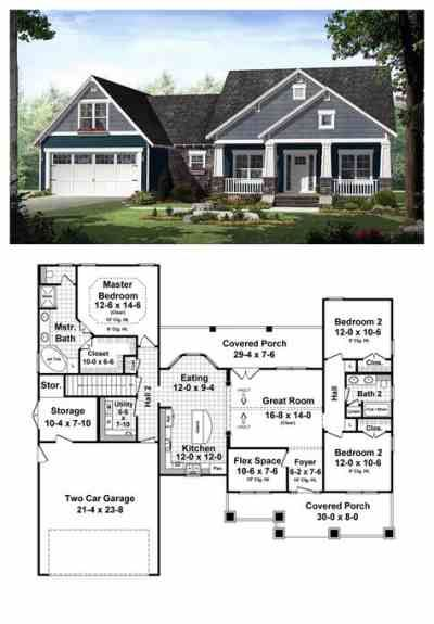 Craftsman style house plan (#21-246) ~ One-story, 1509sf, 3 bdrm, 2 bath, double garage with storage room
