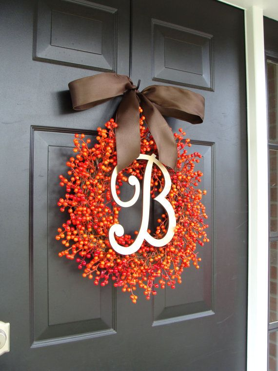 Fall Berry Monogram Wreath Fall Wreath Berry by ElegantWreath, $85.00