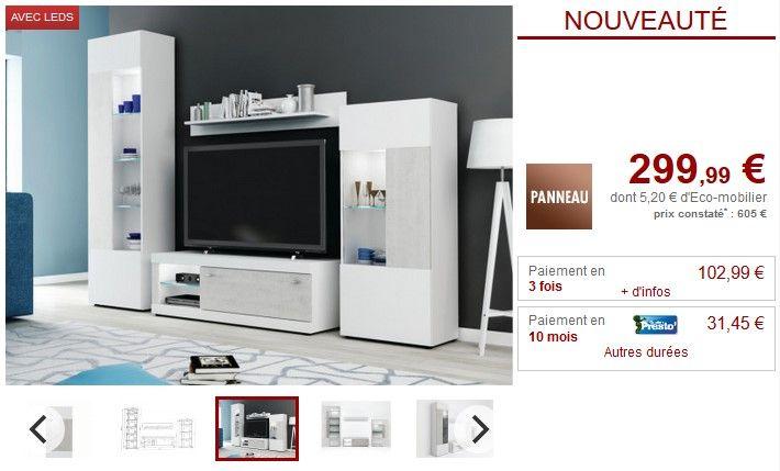 Mur TV COURTNEY avec rangements LEDs Blanc et Béton pas cher ...
